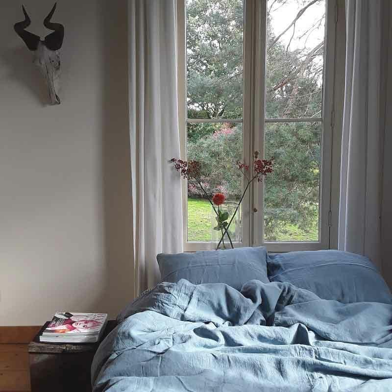 Blauw linnen dekbedovertrek Morning Blue, merk Casa Homefashion, online te koop bij Casa Comodo