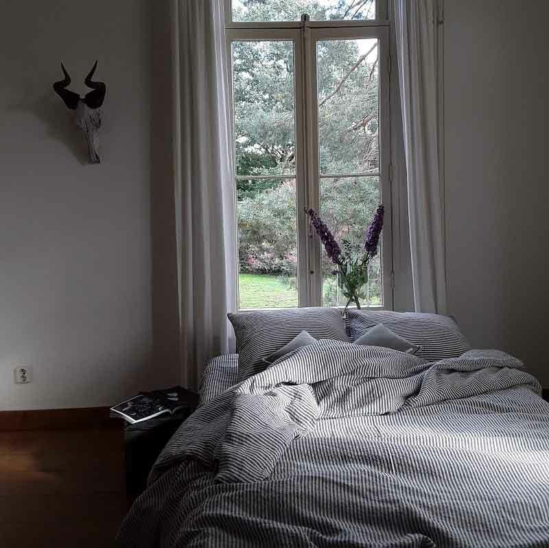 Gestreept linnen dekbedovertrek Stripe Charcoal - merk Casa Homefashion - online te bestellen bij Casa Comodo