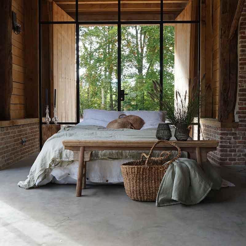 linnen dekbedhoes zacht groen - Wildsage - Casa Comodo