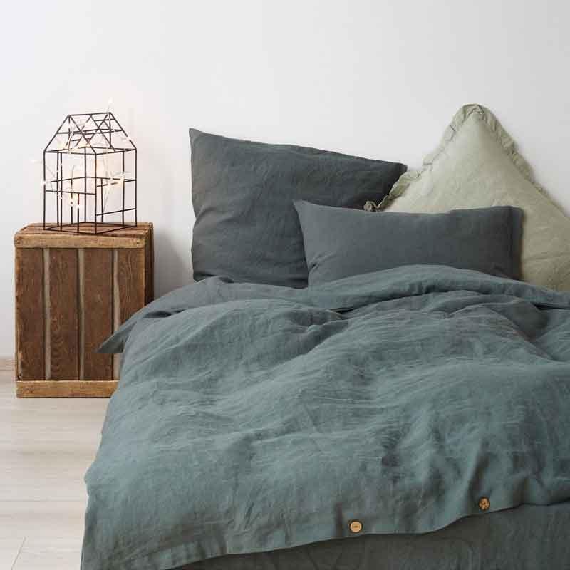1b9d787fede8 Donkergroen linnen dekbedovertrek Forest Green. Merk Linen Tales - online  te koop bij Casa Comodo