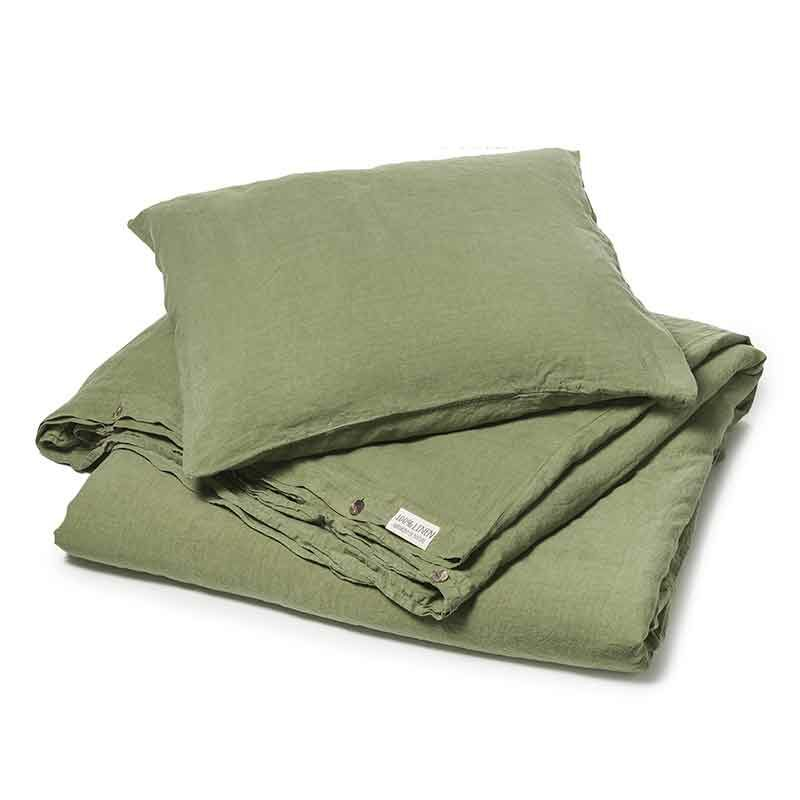 Groen stonewashed linnen dekbedovertrek woodland-green, is online te koop bij Casa Homefashion