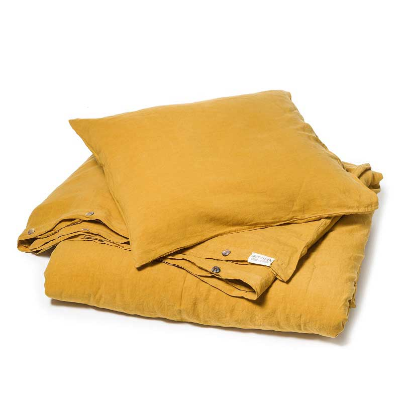 734e8731990d Okergeel stonewashed linnen dekbedovertrek Yellow Summer - Casa Homefashion