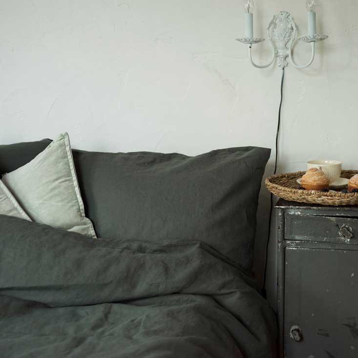 dd6ffa857840 Donkergroen stonewashed puur linnen dekbedovertrek Forest Green - Merk linen  tales - online te koop bij
