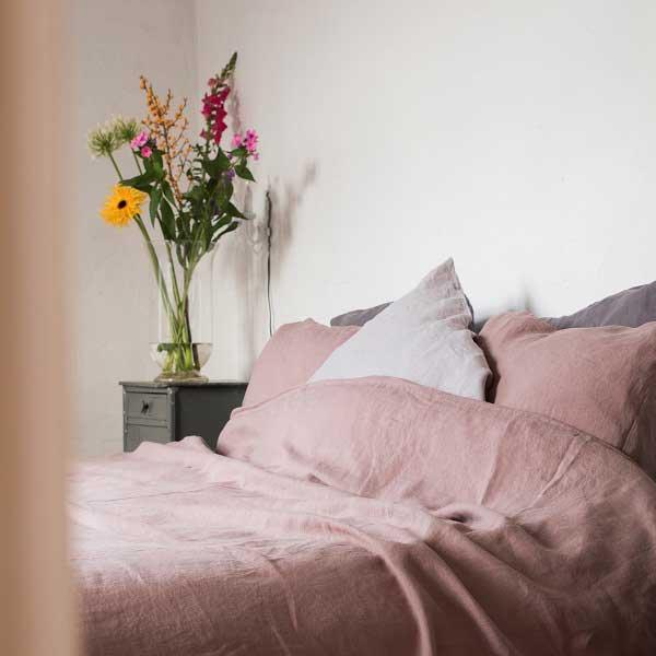 Lavendelkleurig linnen dekbedovertrek Vintage Rose - Casa Homefashion