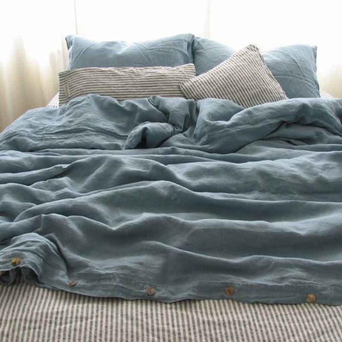 Blauw linnen dekbedovertrek Morning Blue - Casa Homefashion