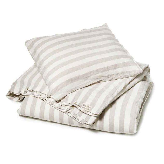 Zandkleurig-wit breed gestreept linnen dekbedovertrek Stripe Naturel - Casa Homefashion