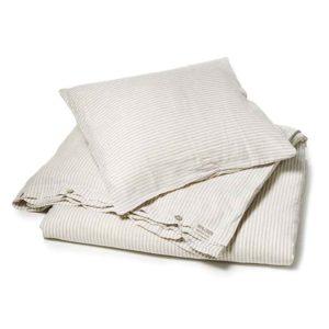 Zandkleurig-wit gestreept linnen dekbedov