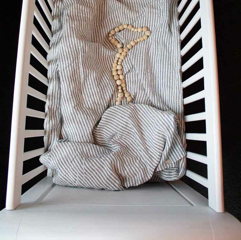 Gestreept linnen baby dekbedovertrek voor baby's en peuters. voor ledikant - 100 x 135 cm - Casa Comodo