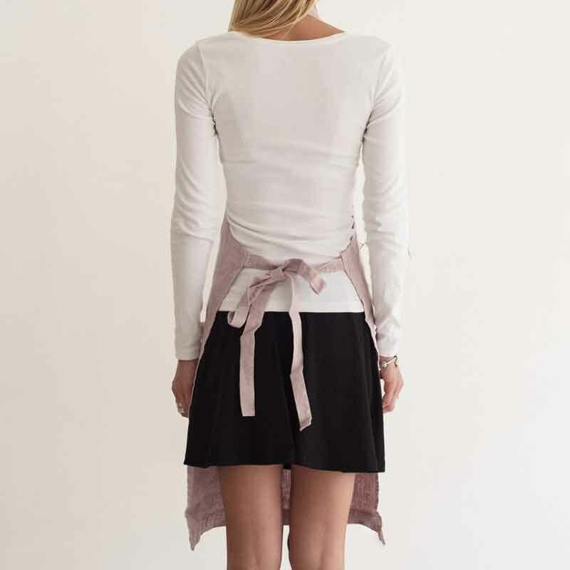 Roze stonewashed linnen schort Pink Lavendel - Casa Comodo