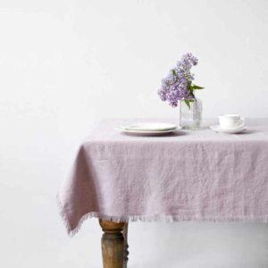 Roze linnen tafelkleed Vintage Pink Lavendel - Casa Comodo