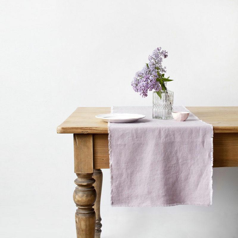 Linnen tafelloper roze - Casa Comodo