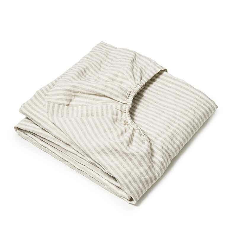 Zandkleurig gestreept linnen hoeslaken Stripe Nature