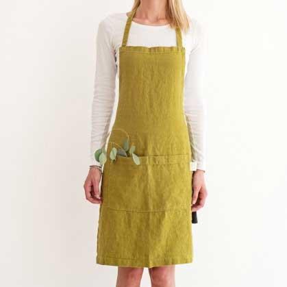 Mosgroen linnen keukenschort Moss Green - Casa Comodo