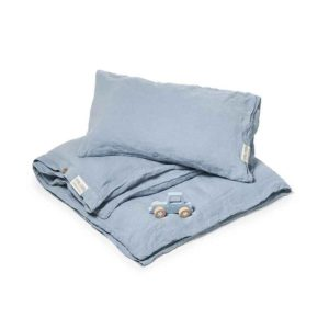 Blauw linnen kinderdekbedovertrek Morning Blue - Casa Homefashion