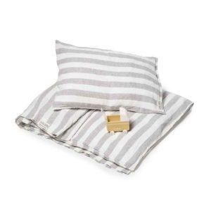 Gestreept linnen kinderdekbedovertrek Stripe Dove Grey voor ledikant - Casa Comodo
