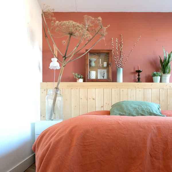 Linnen dekbedovertrek terra cotta kleur, merk Casa Homefashion