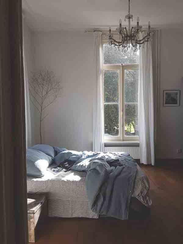 Linnen dekbedovertrek Morning Blue is heldere blauwe kleur - online te koop bij Casa Comodo