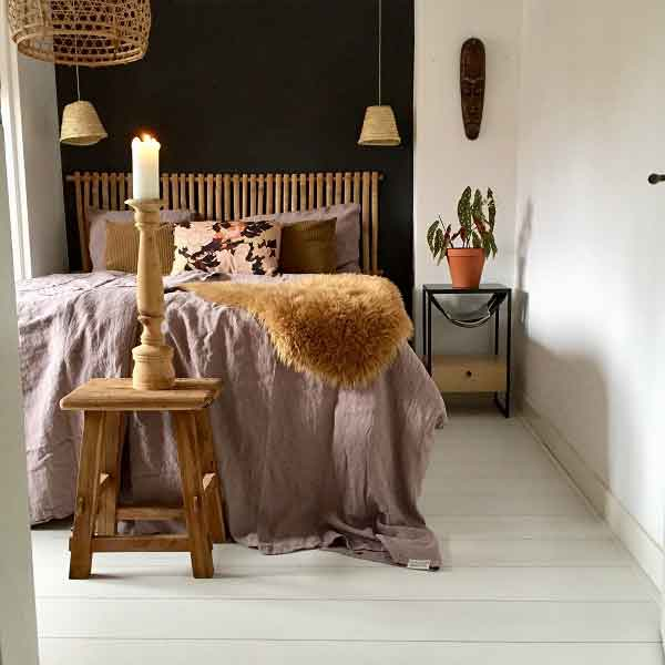 linnen dekbedovertrek Vintage Rose - oud roze - merk Casa Homefashion - online te koop bij Casa Comodo