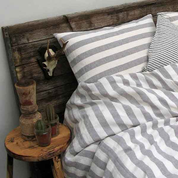 Linnen dekbedovertrek Stripe Dove Grey - gestreept beddengoed - online bij Casa Comodo