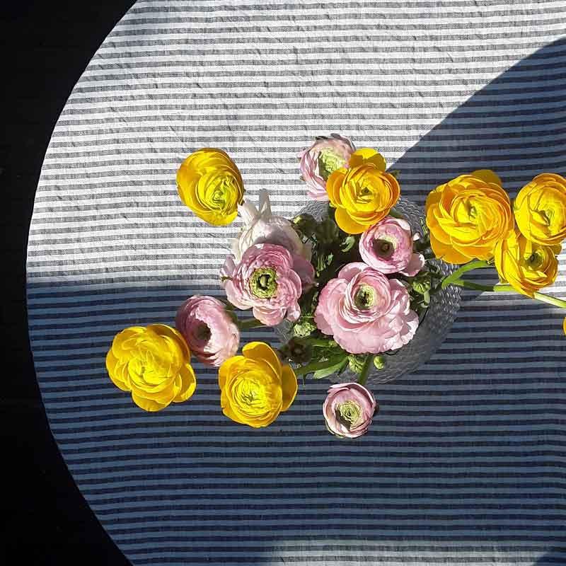 Linnen tafelkleed Stripe Charcoal - Casa Homefashion - online bij Casa Comodo