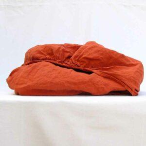 Linnen hoeslaken Baked Clay - Terra Cotta - webshop Casa Comodo