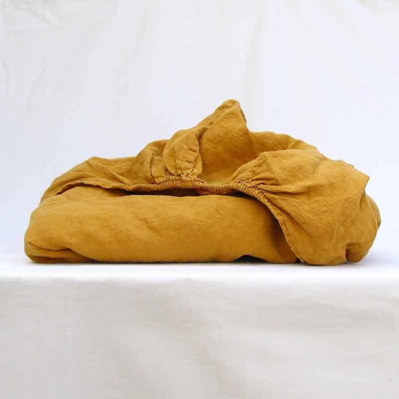b18c07411773 Linen fitted sheet, ocher yellow - Yellow Summer - webshop Casa Comodo