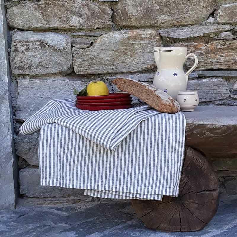 Linnen tafelkleed Stripe Charcoal - gestreept - donkergrijs wit - Casa Comodo