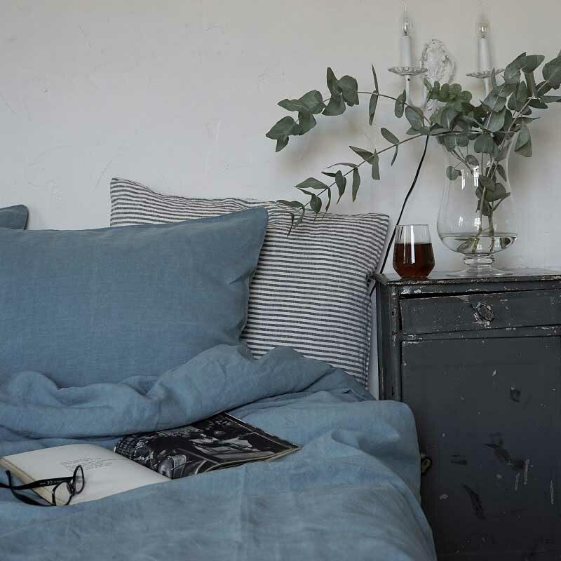 linnen dekbedovertrek blauw - Morning Blue - Casa Comodo