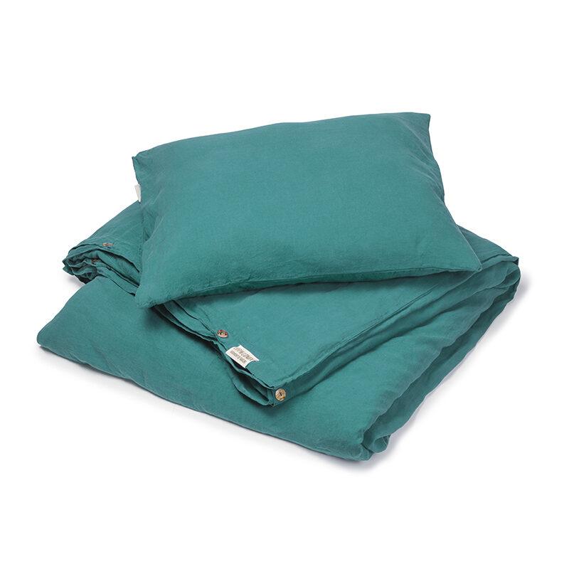 linnen dekbedovertrek blauw groen - Caas Comodo