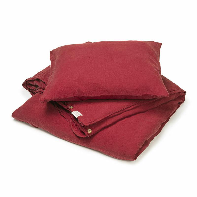 linnen dekbedovertrek warm rood