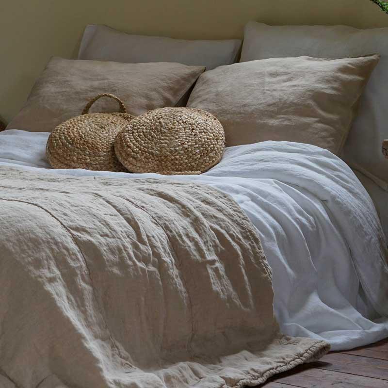 beige linen bedspread