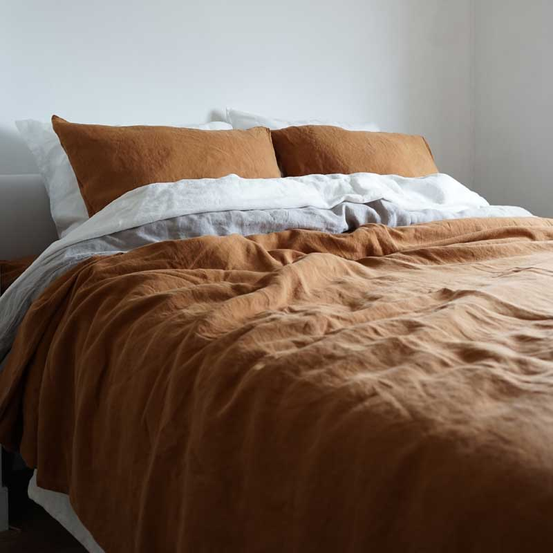brown linen duvet cover