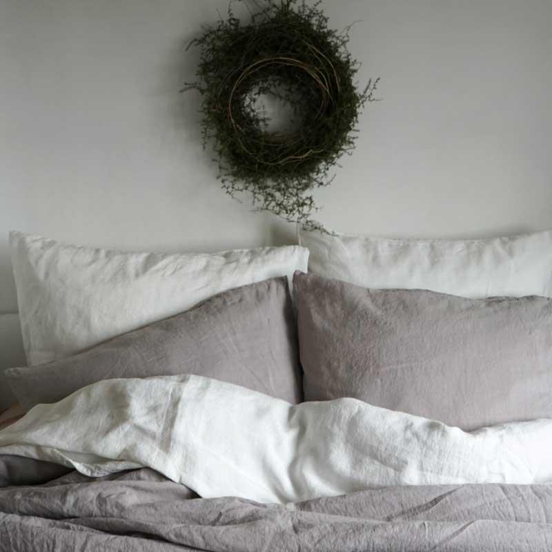 light gray linen bedding Pearl Gray