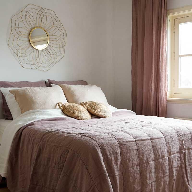 old pink linen bedspread